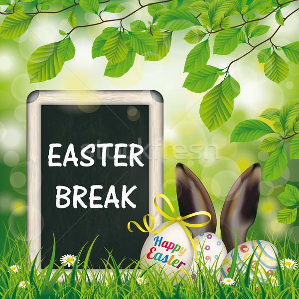 Kellemes húsvétot törik tojások iskolatábla nyúl fülek Stock fotó © limbi007