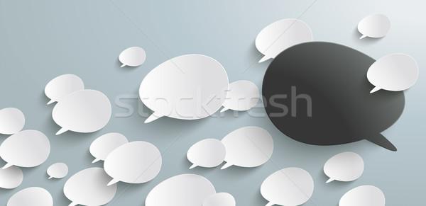 Bevel Speech Bubbles Refutation Header Infographic Stock photo © limbi007