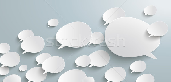 Bevel Speech Bubbles Header Infographic Stock photo © limbi007