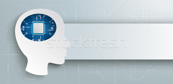 Cyborg Human Head Microchip Brain Headline Stock photo © limbi007