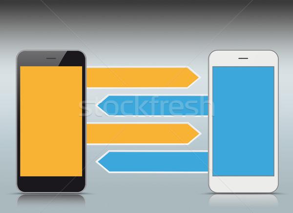 White Black Smartphones Arrows Directions Stock photo © limbi007
