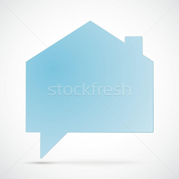 Stock photo: White Paper House Building Shape Speech Bubble