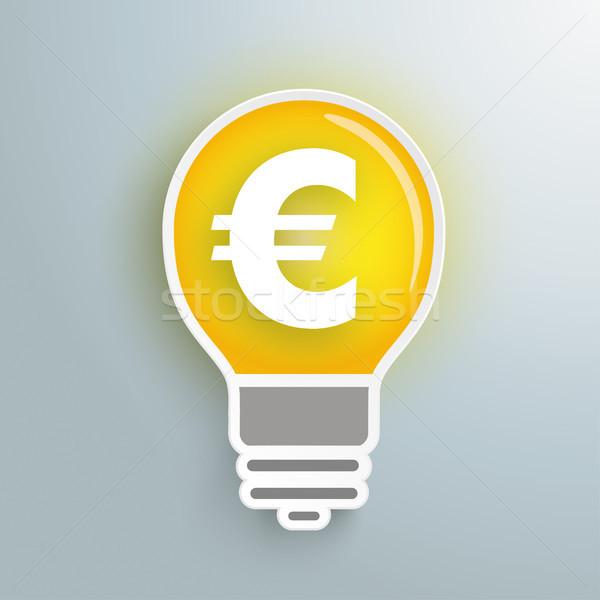 Foto stock: Bulbo · euro · idéia · símbolo · cinza · eps