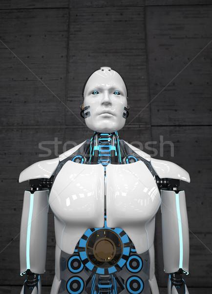 Zdjęcia stock: Biały · robot · konkretnych · 3d · ilustracji · komputera
