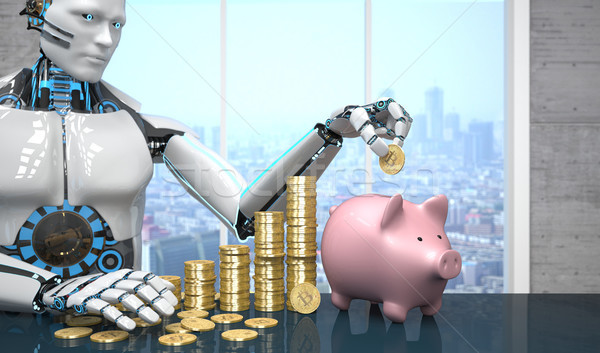 Robot bitcoin rose tirelire blanche table Photo stock © limbi007