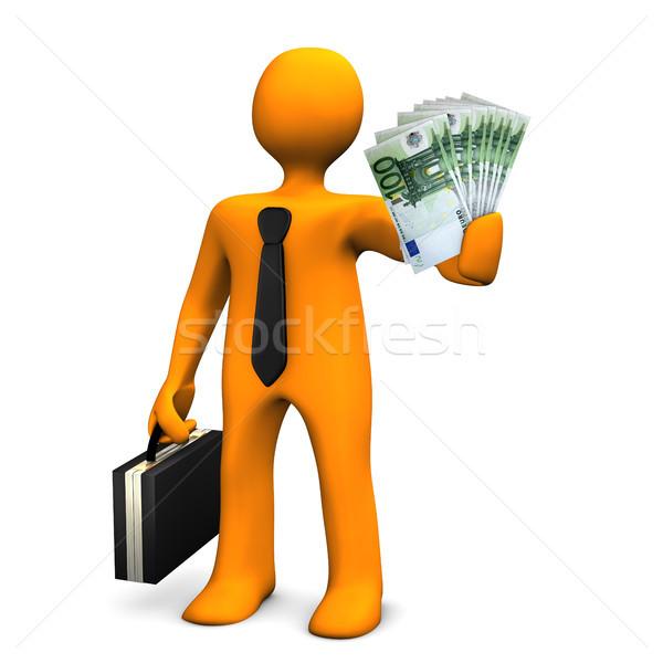 Korrupció narancs üzletember pénz fehér nő Stock fotó © limbi007