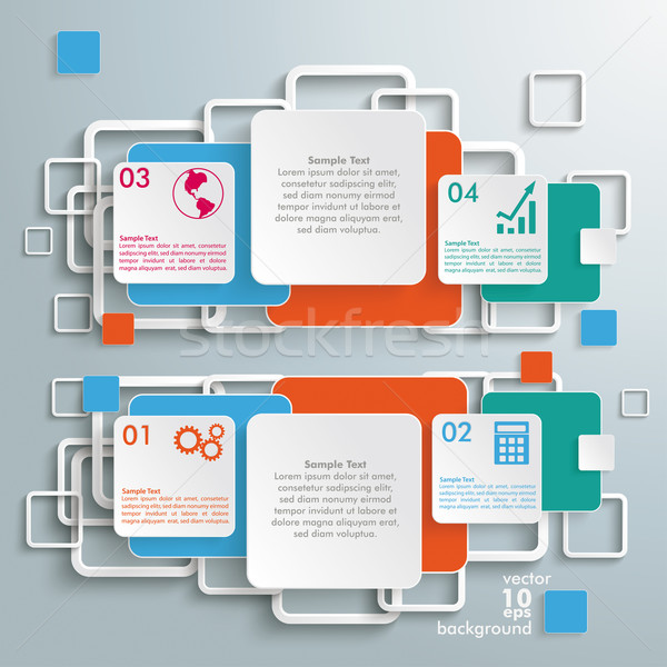 Colored Double Squares Infographic Stock photo © limbi007