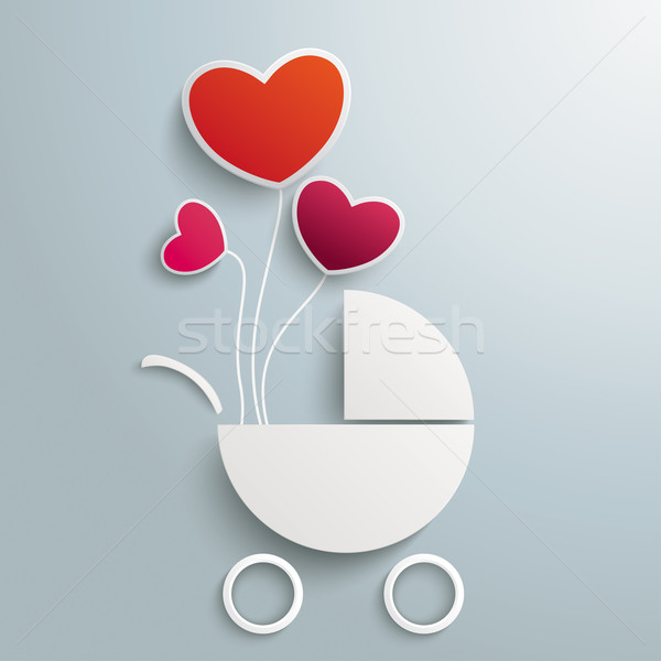 Stock photo: White Paper Baby Buggy 3 Balloon Hearts