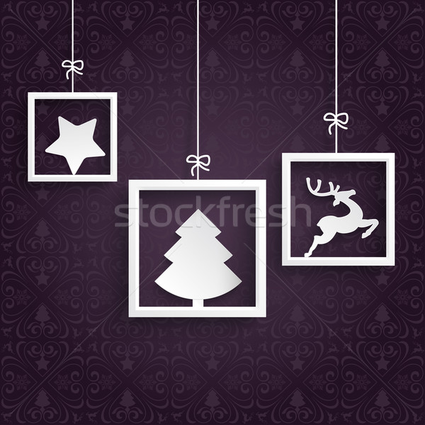 Purple Ornaments 3 White Frames Stock photo © limbi007