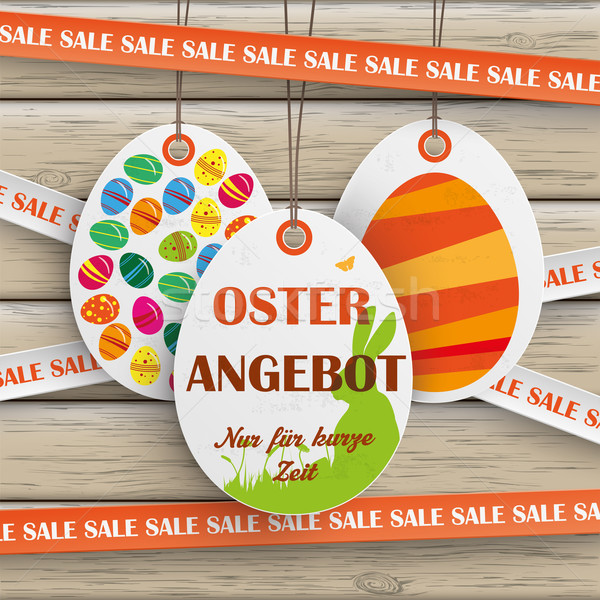 Sale Sticker Lines Easter Offer Wood Stock photo © limbi007