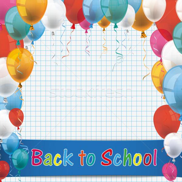 Checked Paper Balloons School Paper Stock photo © limbi007