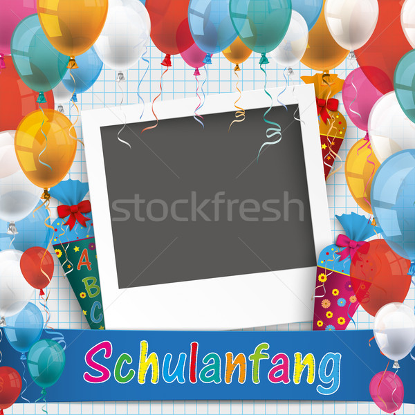 Papír léggömbök fotó szöveg vissza az iskolába eps Stock fotó © limbi007