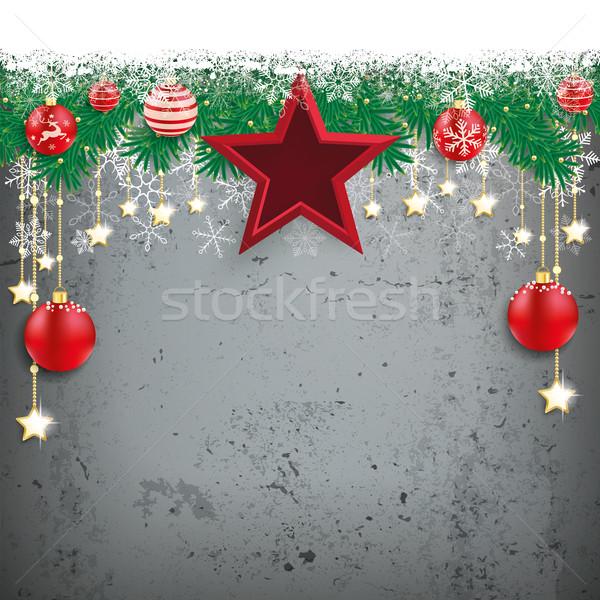 снега ель конкретные красный звезды прибыль на акцию Сток-фото © limbi007