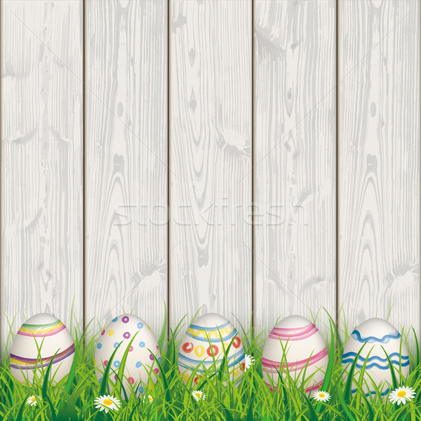 Colored Nature Easter Eggs Grass Woden Background Stock photo © limbi007