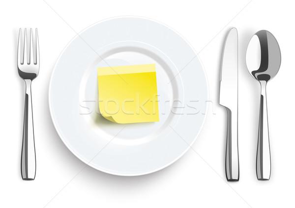 Bıçak çatal kaşık sopa plaka Stok fotoğraf © limbi007