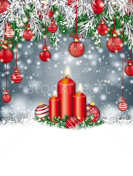 заморожены зеленый Рождества свечей Сток-фото © limbi007