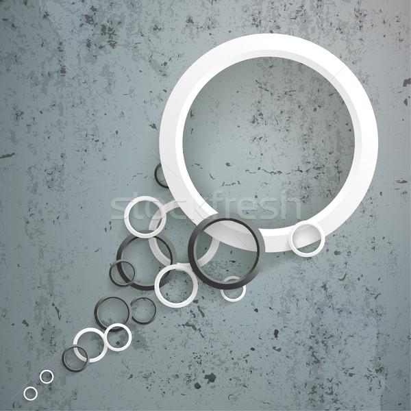 Blanc noir anneaux queue concrètes bulles eps Photo stock © limbi007