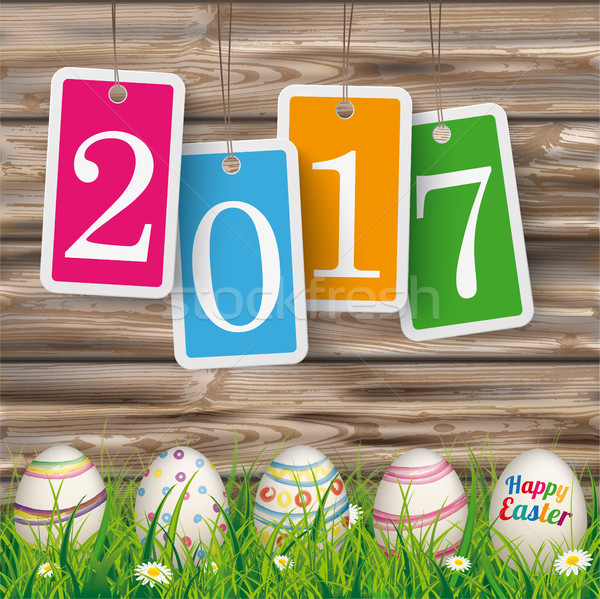 Easter Eggs Grass Worn Wood Price Stickers 2017 Stock photo © limbi007