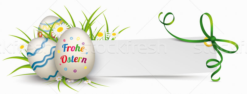 Stock photo: Paper Banner Green Ribbon Ostern Easter Eggs