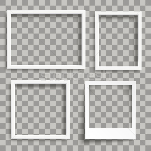 3 White Rectangle Frames 1 Instant Photo Shadows Transparent Stock photo © limbi007