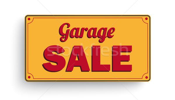 Sign Garage Sale White Background Stock photo © limbi007