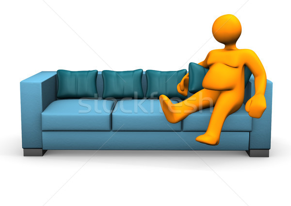 Pigro grasso arancione ragazza uomo Foto d'archivio © limbi007