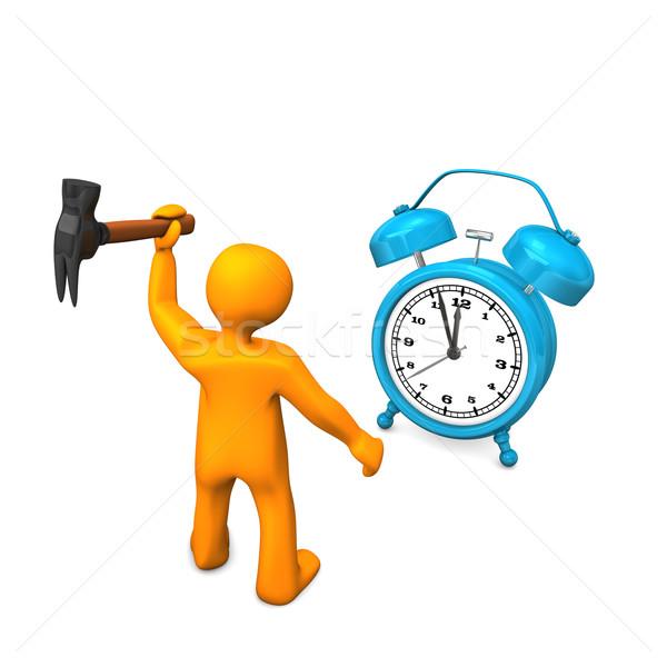 Foto stock: Martelo · laranja · azul · mulher · relógio