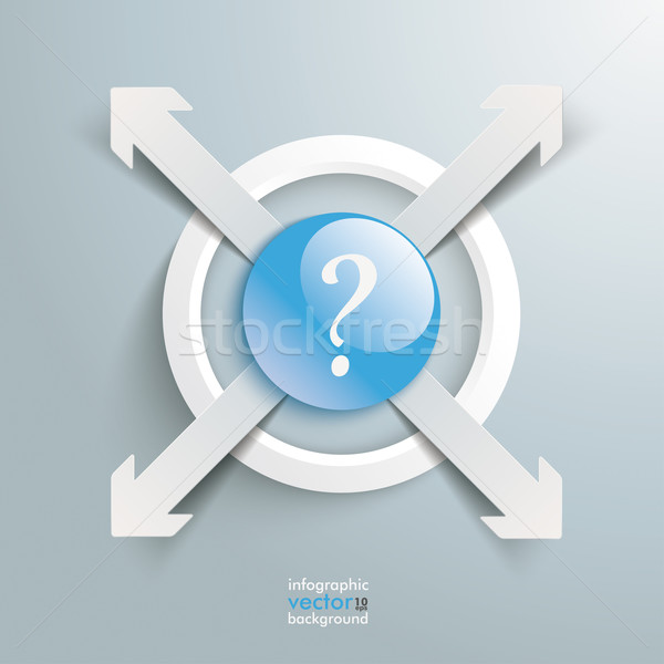 Stock photo: 4 Paper Cut Arrows Ring Centre Externally Question