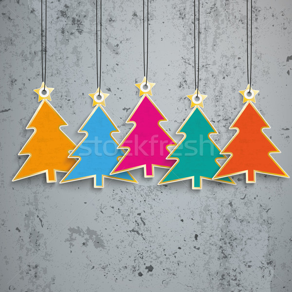 5 Colored Christmas Trees Price Stickers Concrete Stock photo © limbi007