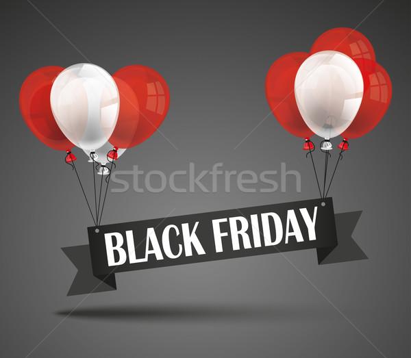 Flying Black Friday Ribbon Balloons Stock photo © limbi007