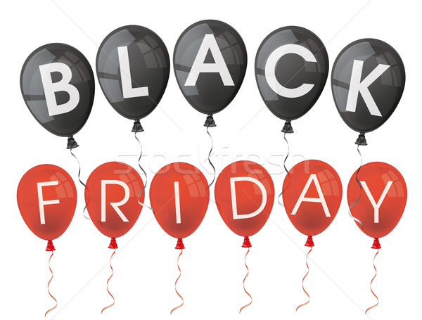 Black friday ballonnen tekst witte eps 10 Stockfoto © limbi007