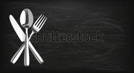 Long Blackboard Knife Fork Spoon Emblem Stock photo © limbi007