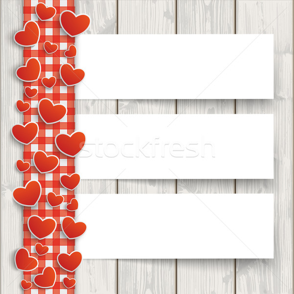 Wood Red Checked Tablecloth Hearts 3 Banners Stock photo © limbi007