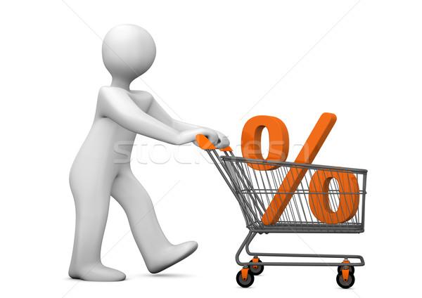 Mannikin Shopping Cart Percent Stock photo © limbi007