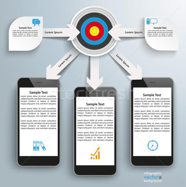 Paper Arrows Big Flowchart Infographic Target 3 Smartphones Stock photo © limbi007