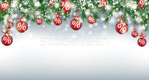 Christmas Sale Header Twigs Red Percent Baubles Snow Stock photo © limbi007