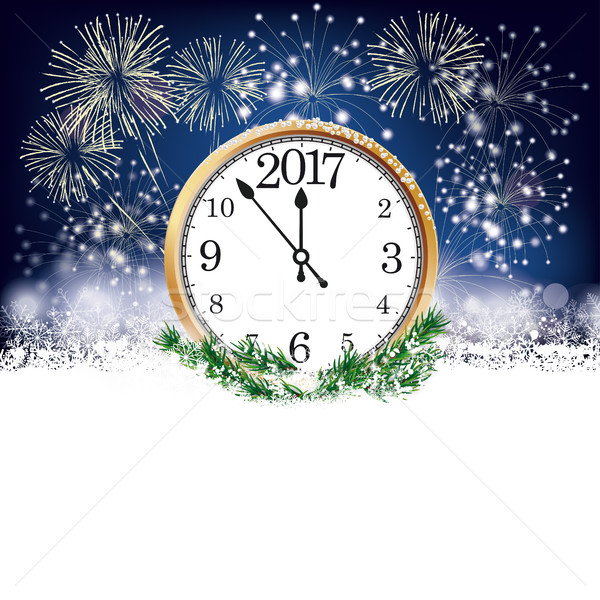Silvester Clock 2017 Fireworks Stock photo © limbi007