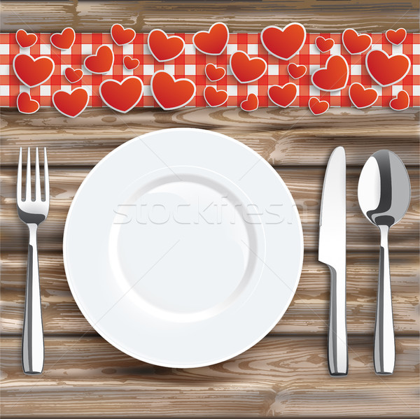 Worn Wood Red Checked Cloth Knife Fork Spoon Plate Hearts Stock photo © limbi007