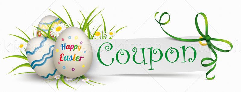 Kâğıt afiş yeşil şerit paskalya yumurtası Stok fotoğraf © limbi007