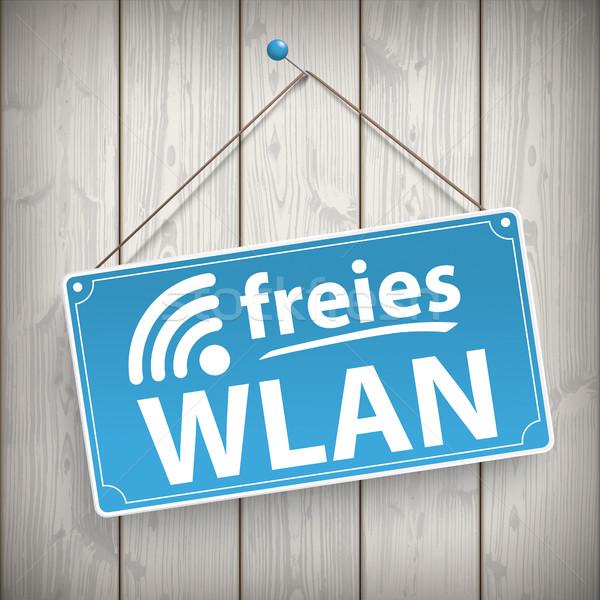 Sign Wooden Background Freies Wlan Stock photo © limbi007