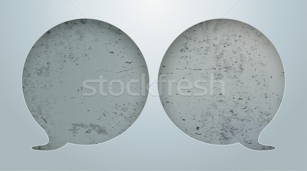2 Speech Bubbles Hole Concrete Stock photo © limbi007