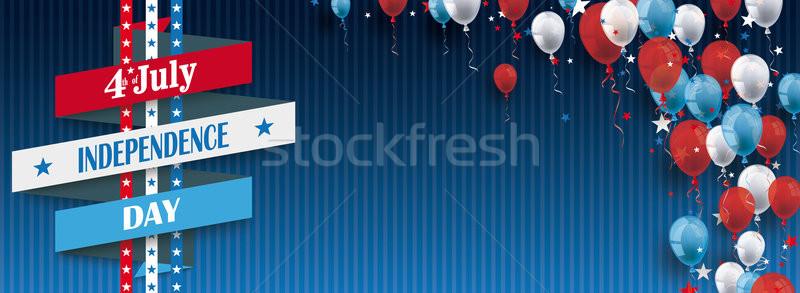 Negyedike szalag léggömbök csillagok kék klasszikus Stock fotó © limbi007