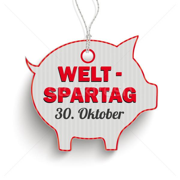 Price Sticker Red Piggy Bank Weltspartag 30 Oktober Stock photo © limbi007