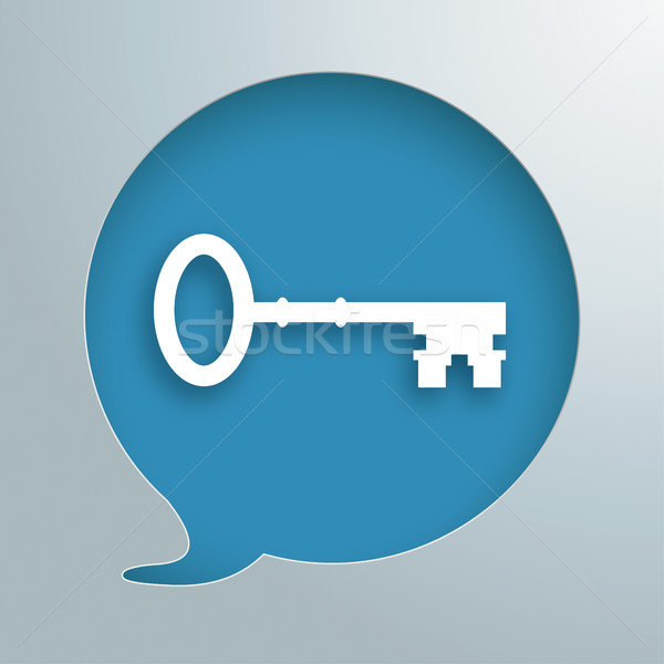 Konuşma balonu delik anahtar beyaz mavi eps Stok fotoğraf © limbi007