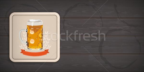 Dark Wooden Background Beer Coaster Stock photo © limbi007