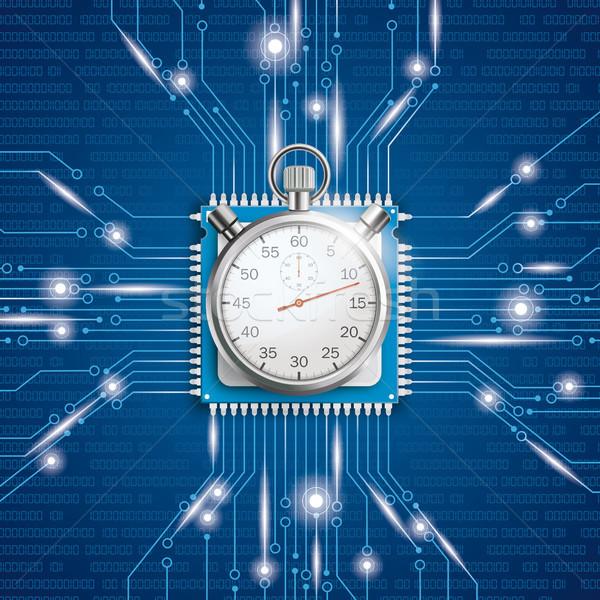 Mikrocsip processzor fények stopperóra kék eps Stock fotó © limbi007
