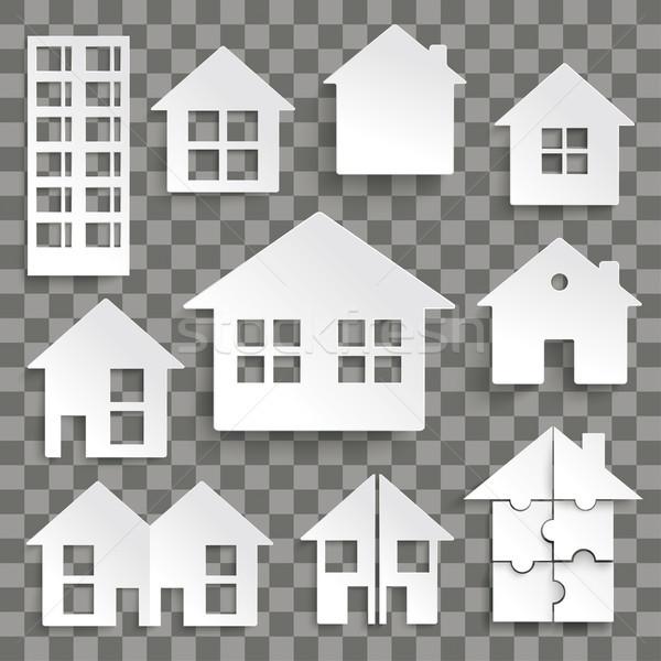 Paper House Set Transparent Stock photo © limbi007
