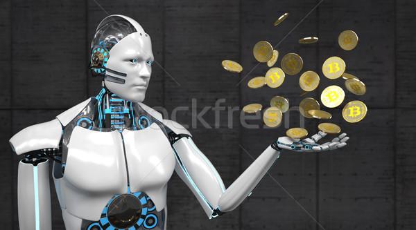 White Robot Bitcoins Stock photo © limbi007