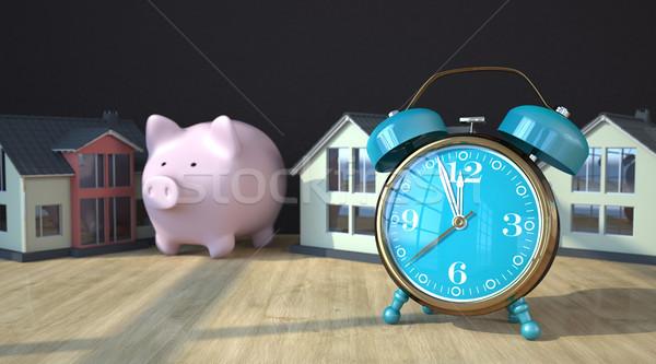 Alarmer Houses Piggy Bank Stock photo © limbi007