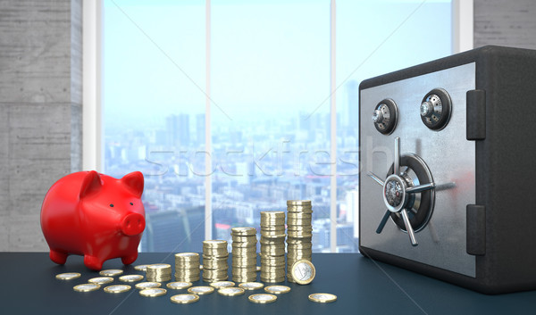 Safe Euro Growth Chart Red Piggy Bank Stock photo © limbi007